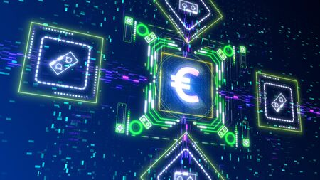 Future of Europe currency concept 3d render. Digital glitch background