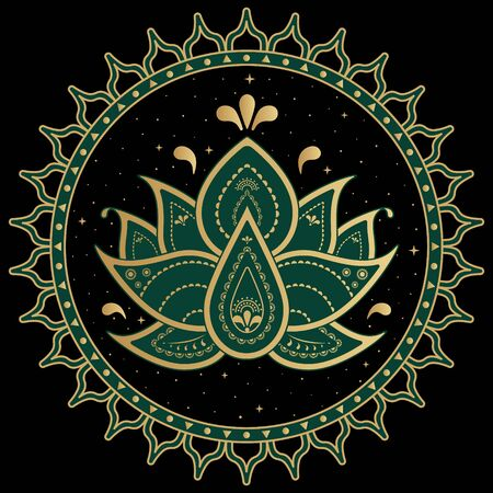 Lotus symbol mandala. Folk ornament with ancient Hindu mantra. Ilustracja