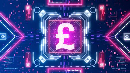British Pound sterling currency sign. Money symbol on a cyber background.