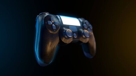 Futuristic console gamepad on black background. 3d render of gaming controller