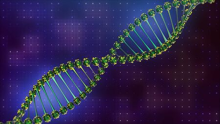 DNA helix spiral disease and illness. Glowing blue. science and health 3d render