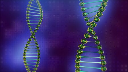 Two DNA double helix on digital blue background. Science and health theme Banque d'images
