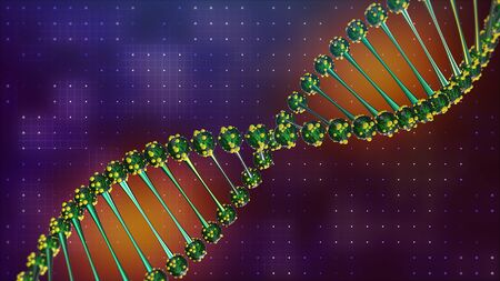 DNA helix spiral disease and illness. Glowing green. science and health 3d.
