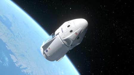 New york, USA - May 31, 2020: Nasa launches Crew Dragon spaceship. Earth orbit