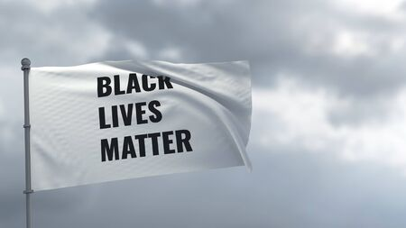 Black Lives Matter Flag on protests against racism. African Americans rights