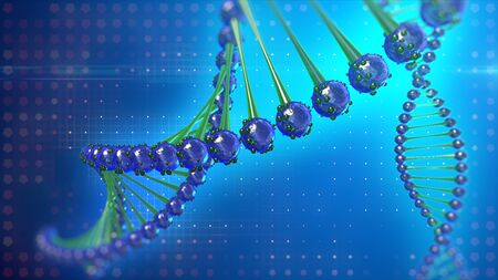 DNA molecule double helix, glow on abstract digital background.