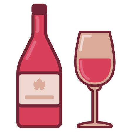 Bottle with rose wine and filled glass. Flat style illustration of pink bottle