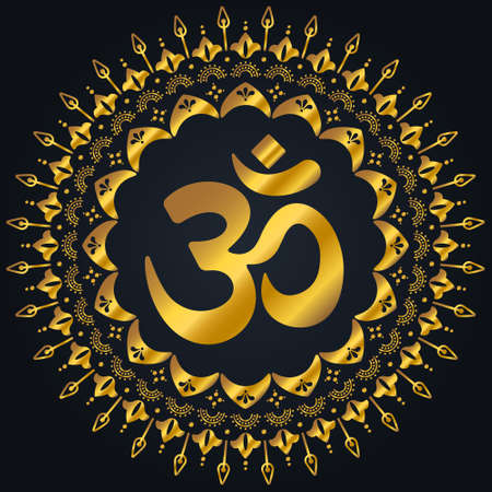 OM golden mandala. Decorative ornament in oriental style with ancient Hindu mantra on black background Ilustrace