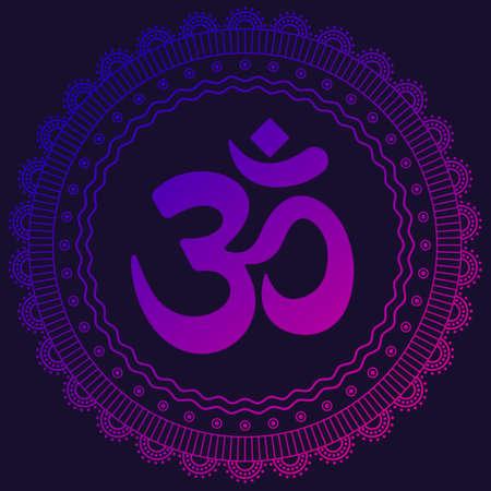 Neon colored Om symbol mantra. Violet to pink gradient mandala. Vector ornament