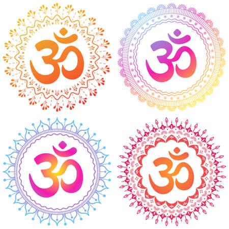 Set of four OM symbols mandala. Decorative ornament in oriental style Hindu Ilustração