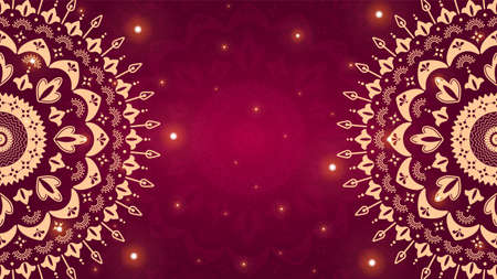 Beautiful gold ornamental mandala on gradient red background.