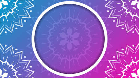 Floral mandala ornament background. Pink to purple gradient vector illustration