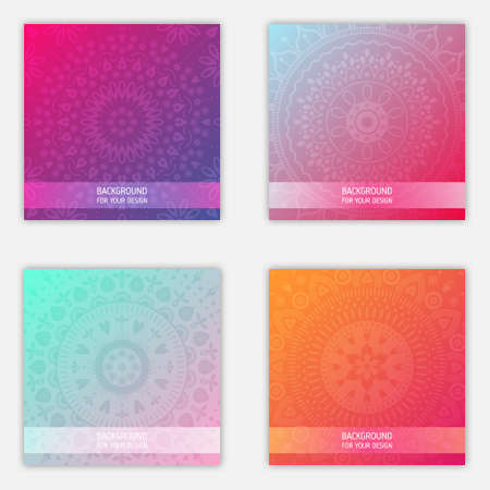 Set of mandala ornament backgrounds. Trendy gradient colors stock illustration