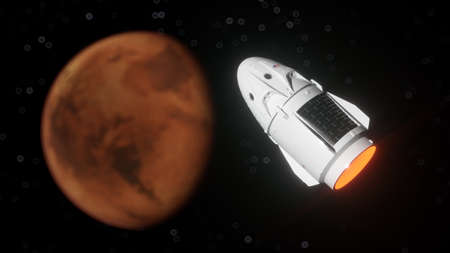 Spaceship near the Mars orbit. 3d illustration of spacecraft flying to the Mars planet. Mars exploration concept.