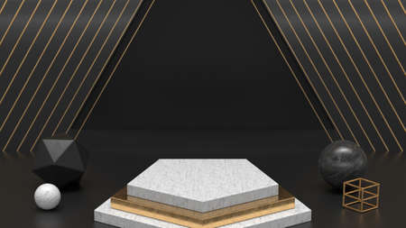 Modern 3d background. White marble product stand. 3d illustration for fashion, design. 스톡 콘텐츠