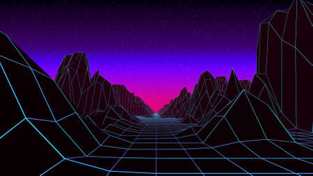Retro style low poly landscape. Retrowave 3d illustration of sunrise or sunset. Neon 80s background