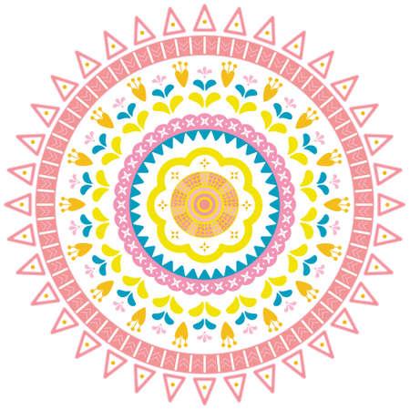 Ethnic folk and boho floral mandala. Nature herb abstract symbol. For print, textile, fabric, fashion