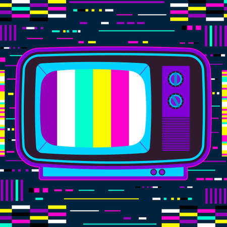 Retro tv with glitch effect. Neon colore abstract square background vector illustration. Vector Illustration