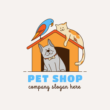 Logo for pet shop, veterinary clinic, animal shelter, designed in a modern style vector lines. Çizim