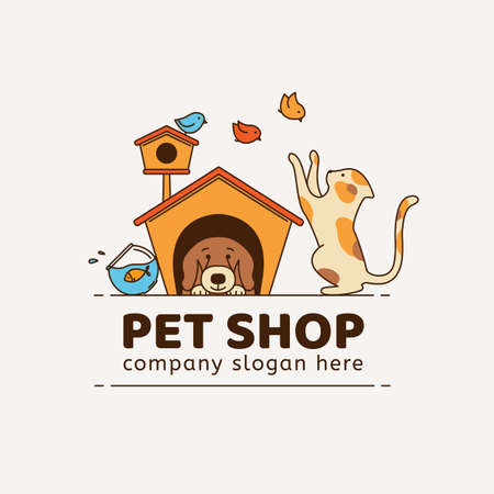 Logotipo para tienda de mascotas, clínica veterinaria, refugio de animales, diseñado en líneas vectoriales de estilo moderno.