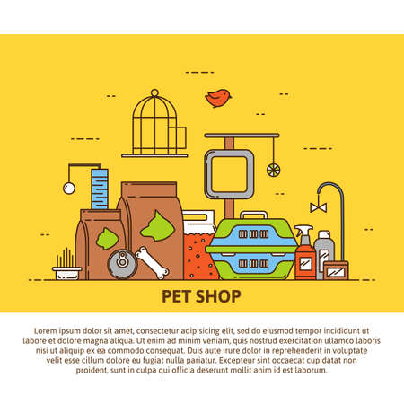shop for animals: A unique example of the concept pet shop. Vector illustration in modern style