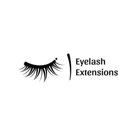 まつげ拡張機能のロゴ。モダンなスタイルの黒と白のベクトル図