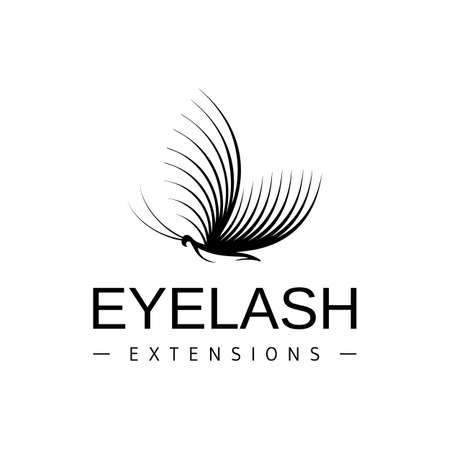Eyelash extension logo. Vector black and white illustration in a modern style Vettoriali
