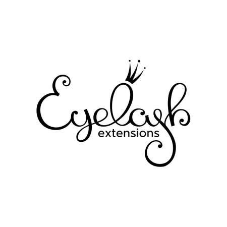 Wimper extensie logo. Stijl met een gestileerde handgetekende belettering, kalligrafie.