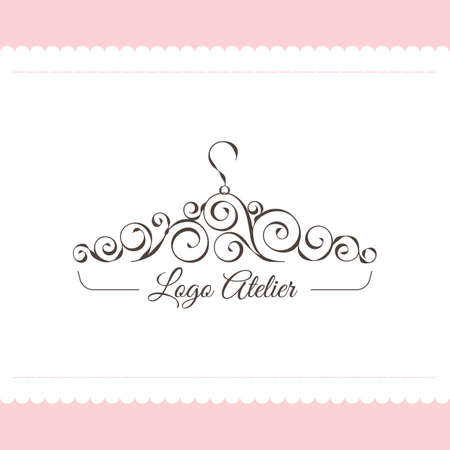 El logo Atelier. Plantilla de vector para la industria de la moda. Elemento para costura y sastrería de estudio. Ilustración en estilo moderno Foto de archivo - 89617913
