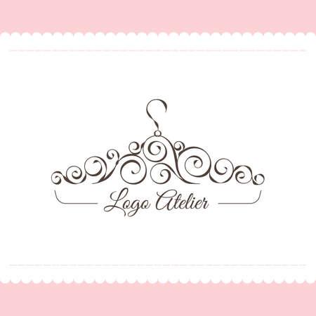Het logo Atelier. Vectormalplaatje voor de manierindustrie. Element voor Studio-naaien en afstemming. Illustratie in moderne stijl Stockfoto - 89617913