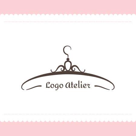 Het logo Atelier. Vectormalplaatje voor de manierindustrie. Element voor Studio-naaien en afstemming. Illustratie in moderne stijl