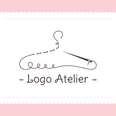 The logo Atelier. Vector template for the fashion industry. Element for Studio sewing and tailoring. Illustration in modern style