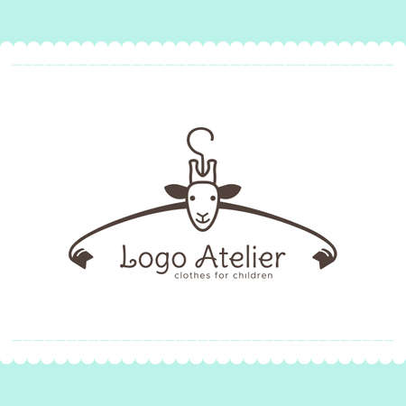 Logo Atelier making childrens clothes. Vector template for the fashion industry. Element for Studio sewing and tailoring. Illustration in cartoon style