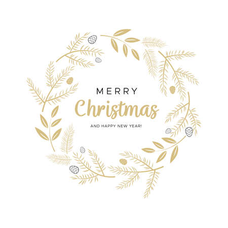 Christmas wreath with gold branches and pine cones. Unique design for your greeting cards, banners, flyers. Vector illustration in modern style. Illustration