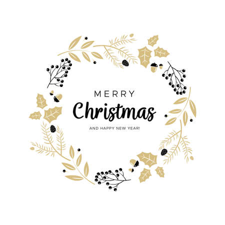 Christmas wreath with black and gold branches and pine cones. Unique design for your greeting cards, banners, flyers. Vector illustration in modern style.