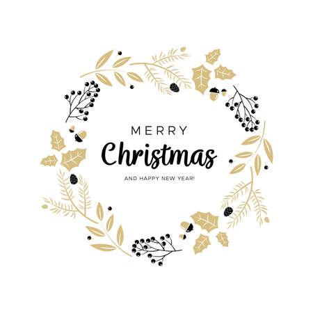 Weihnachtskranz mit Schwarz- und Goldzweigen und Kiefernkegeln. Einzigartiges Design für Ihre Grußkarten, Banner, Flyer. Vektorillustration in der modernen Art. Vektorgrafik