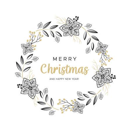Couronne de Noël avec des branches noires et or et des pommes de pin. Conception unique pour vos cartes de voeux, bannières, dépliants. Illustration vectorielle dans un style moderne.