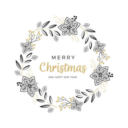 Christmas wreath with black and gold branches and pine cones. Unique design for your greeting cards, banners, flyers. Vector illustration in modern style. Illustration