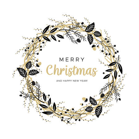 Christmas wreath with black and gold branches and pine cones. Unique design for your greeting cards, banners, flyers. Vector illustration in modern style. 矢量图像