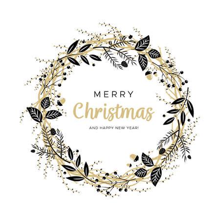 Corona de Navidad con ramas de color negro y oro y piñas. Diseño único para sus tarjetas de felicitación, pancartas, folletos. Ilustración de vector de estilo moderno. Ilustración de vector