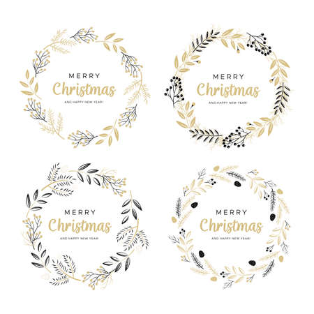 Set of Christmas wreaths with black and gold branches and pine cones.