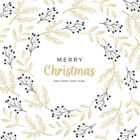 Joyeux noël et bonne année carte de voeux avec des branches noires et or et des boules de pin Banque d'images - 91197889