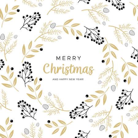 Joyeux noël et bonne année carte de voeux avec des branches noires et or et des boules de pin Banque d'images - 91141900