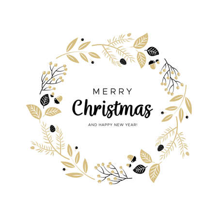 Christmas wreath with black and gold branches and pine cones. Unique design for your greeting cards, banners, flyers. Vector illustration in modern style. Çizim