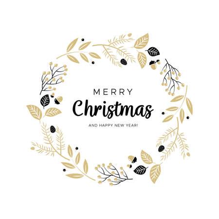 Corona de Navidad con ramas de color negro y oro y piñas. Diseño único para sus tarjetas de felicitación, pancartas, folletos. Ilustración de vector de estilo moderno.