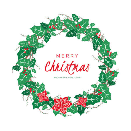 Christmas wreath with leaves, branches and berries. Round frame for winter design. Vector background