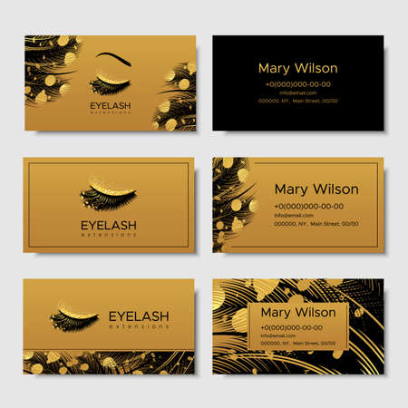 Branding for salon eyelash extension, shop cosmetic products, lashmaker, stylist. Design with gold elements. Vector illustration in modern style