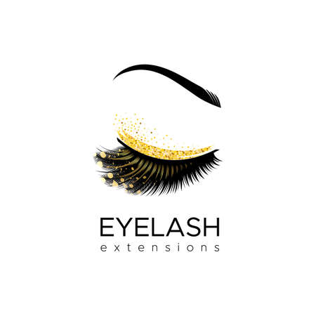 Eyelash extension Makeup with gold glitter. Vector illustration in a modern style