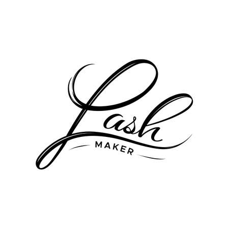 Lash maker icon. The element of the corporate style of salon eyelash extensions. Style with a stylized hand-drawn lettering, calligraphy. Illustration