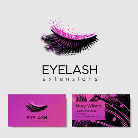 Branding for salon eyelash extension, shop cosmetic products, lashmaker, stylist. eyelash Design with pink glitter. Vector illustration in modern style